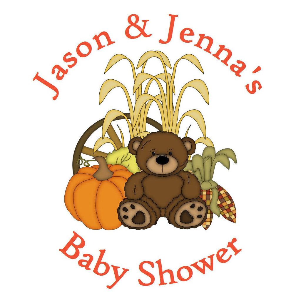 Fall Pumpkin - Baby Shower Favor Label Stickers