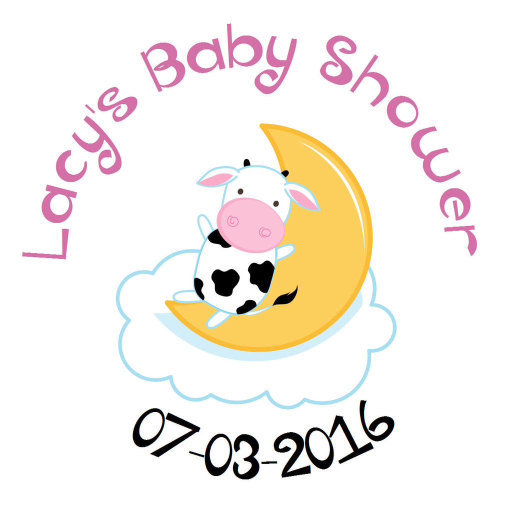 Nursery Rhymes - Cow on Moon Baby Shower Sticker (Choose size)