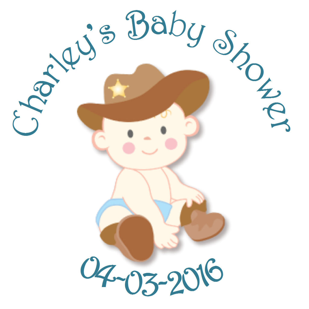 Lil' Cowboy Circle Sticker - Gift Tags & Stickers (#GTS13) - StorkBabyGiftBaskets
