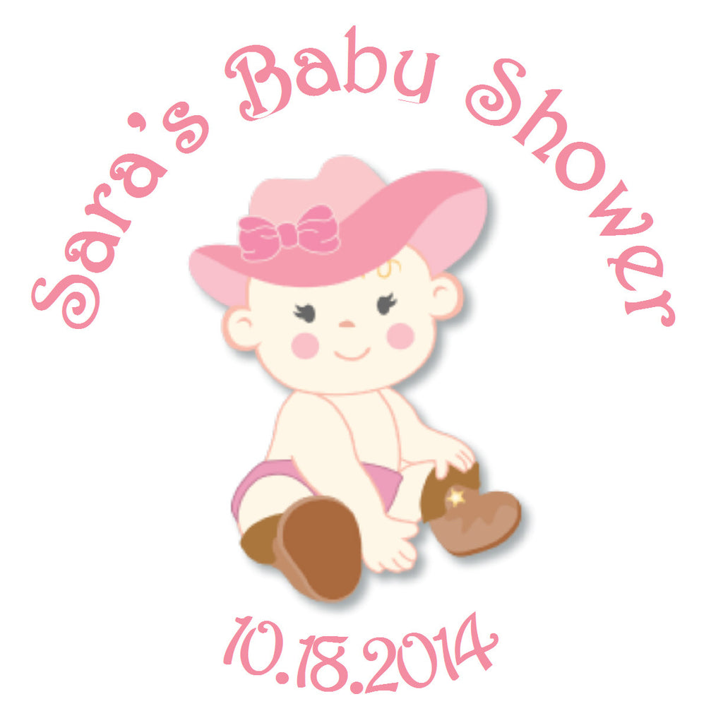 Lil' Cowgirl Circle Sticker - Gift Tags & Stickers (#GTS14) - StorkBabyGiftBaskets