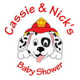 Dalmatian Firefighter Puppy - Baby Shower Gift Tag Stickers