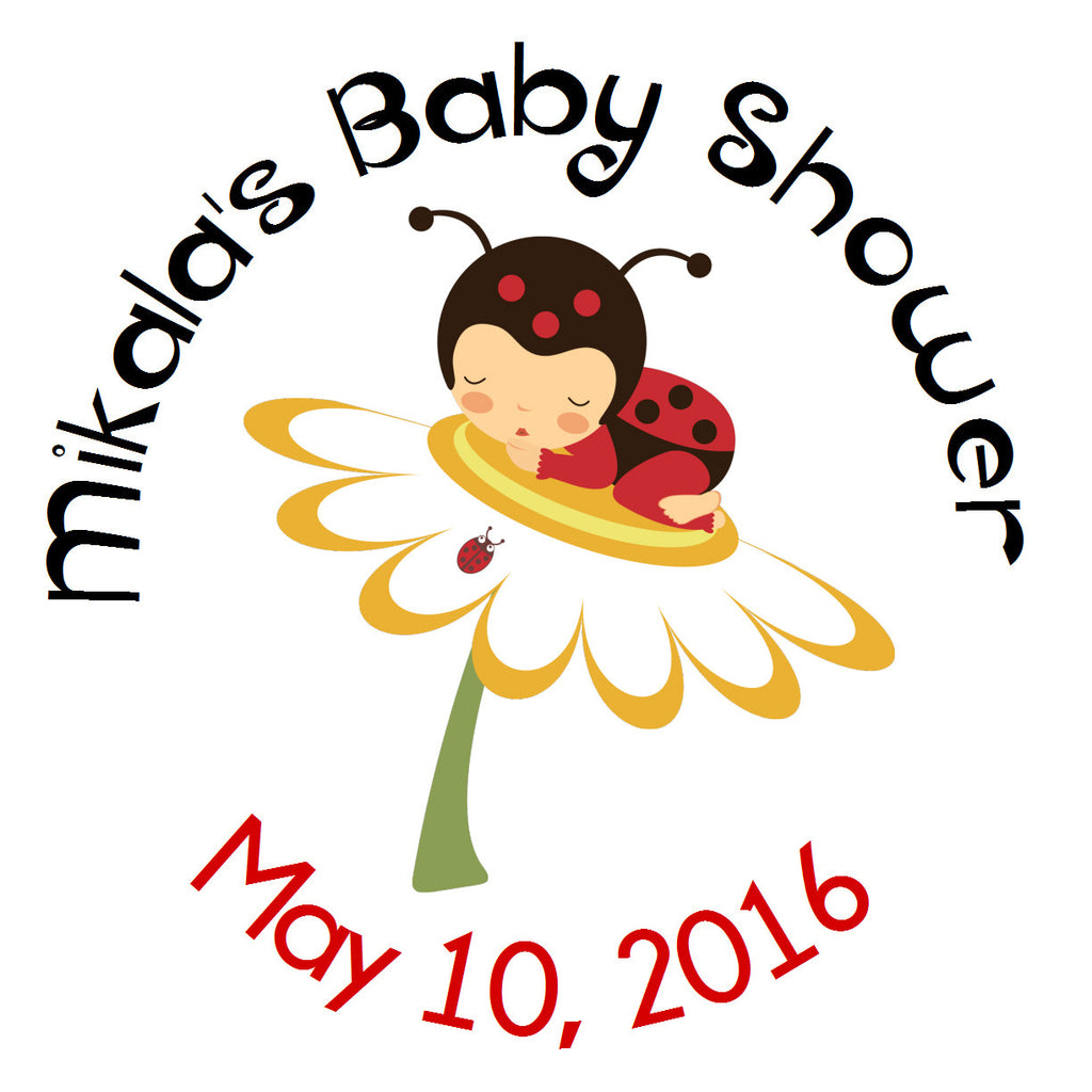 Little Ladybug Circle Sticker - Gift Tags & Stickers (#GTS23) - StorkBabyGiftBaskets