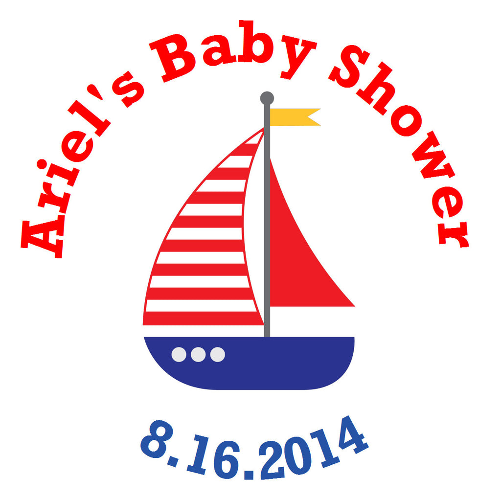 Nautical Sailboat  - Envelope Seal Sticker for Baby Shower