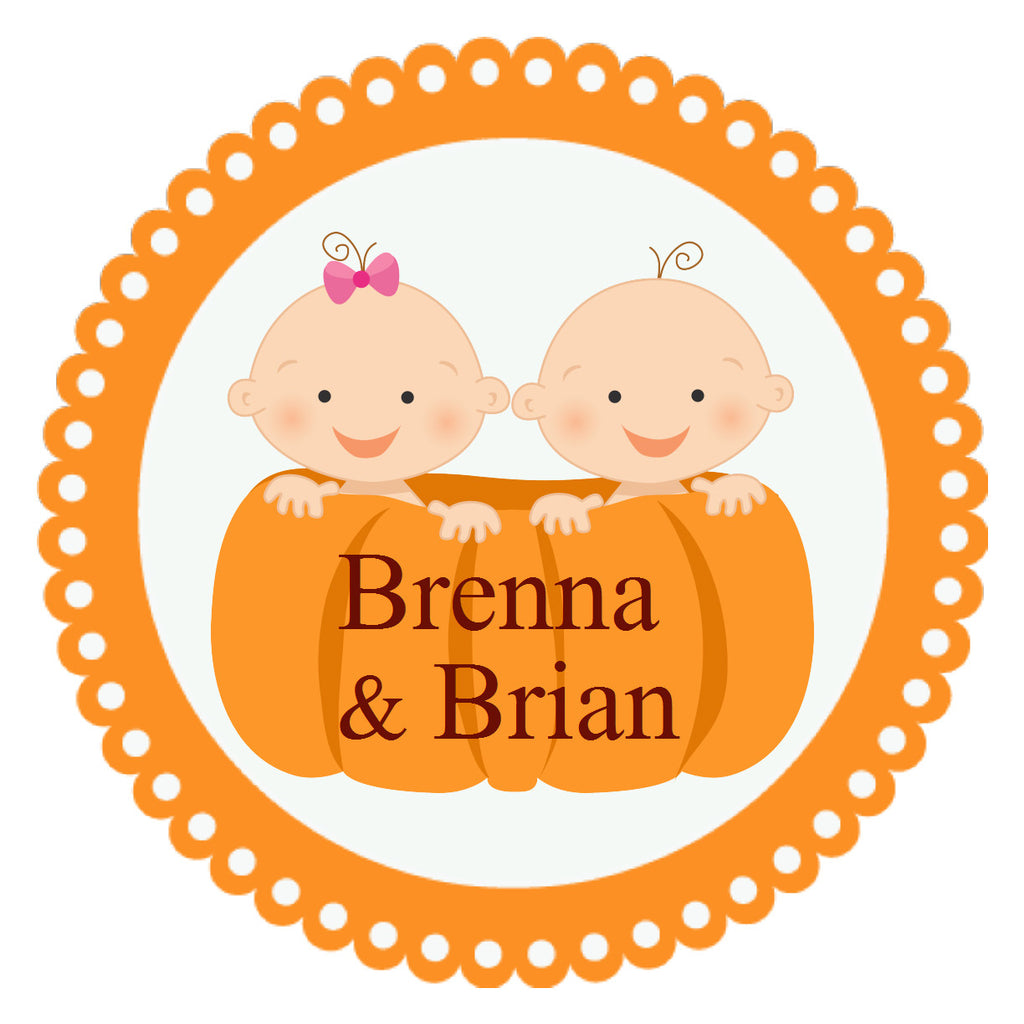 Pumpkin Patch Cuties Circle Sticker - Gift Tags & Stickers (#GTS33) - StorkBabyGiftBaskets