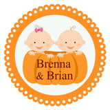 Personalized Pumpkin Patch Cuties Sticker For Twin Boy & Girl