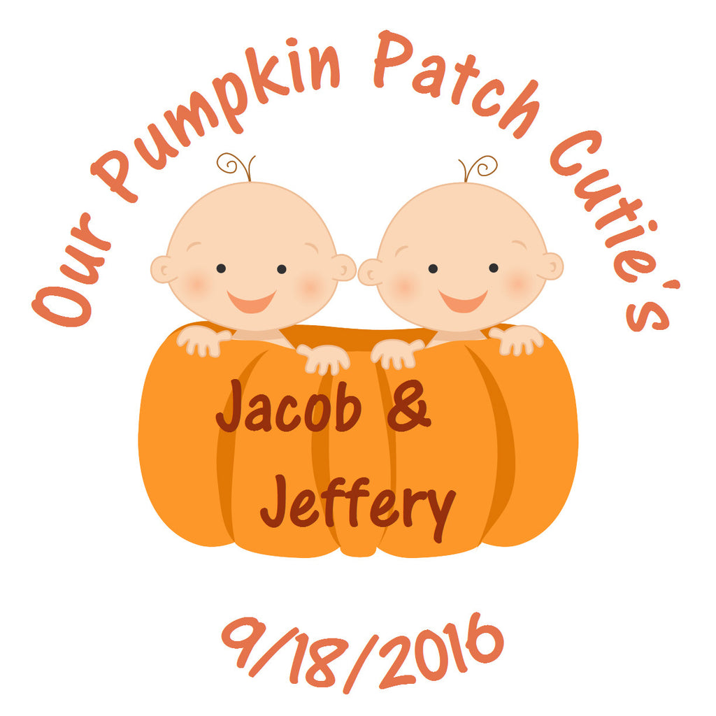Pumpkin Patch Twin Boys Custom Baby Shower Favor Stickers