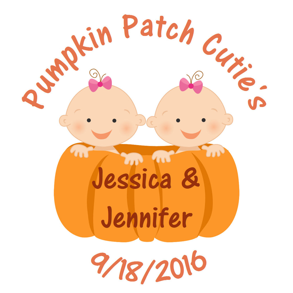 Pumpkin Patch Twin Girls -  Baby Shower Party Stickers