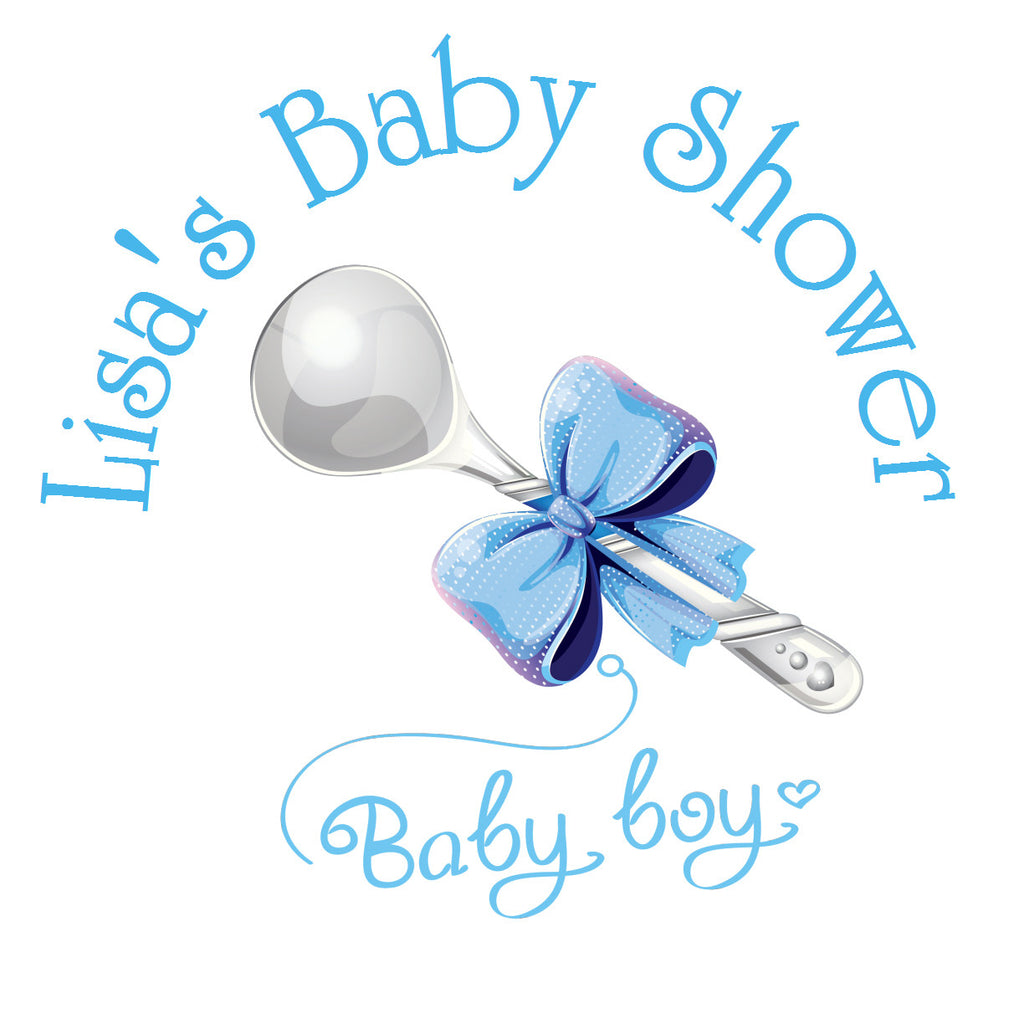 Silver Spoon Boy Circle Sticker - Gift Tags & Stickers (#GTS7) - StorkBabyGiftBaskets