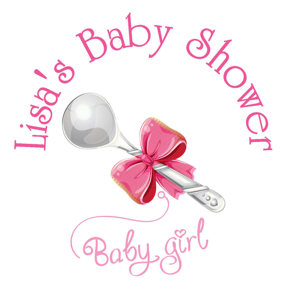 Silver Spoon - Baby Girl Shower Sticker Labels