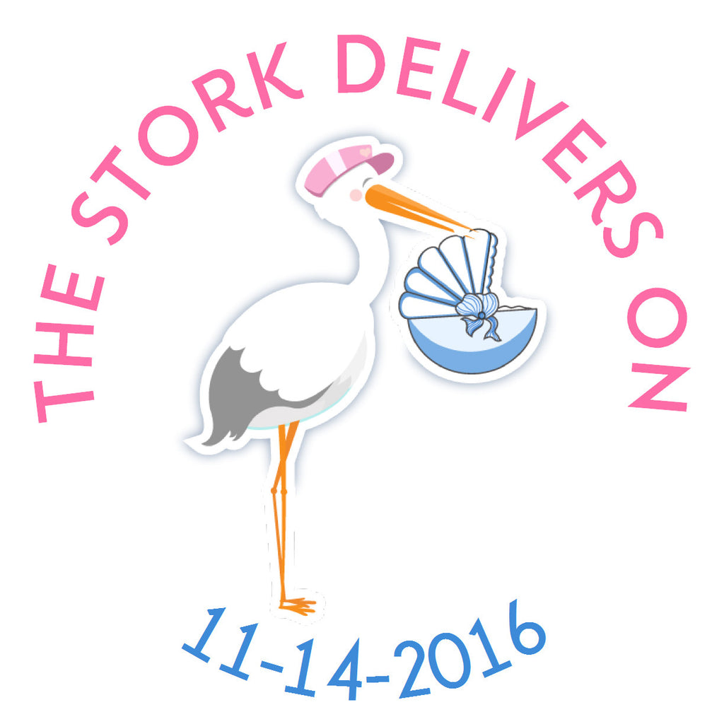 The Stork Delivers Circle Sticker - Gift Tags & Stickers (#GTS39) - StorkBabyGiftBaskets