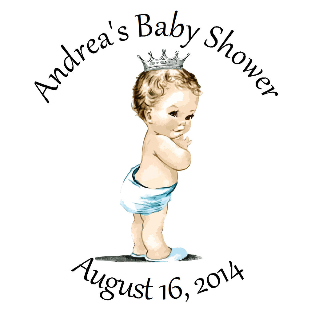 Vintage Prince - Personalized Baby Boy Shower Sticker Labels