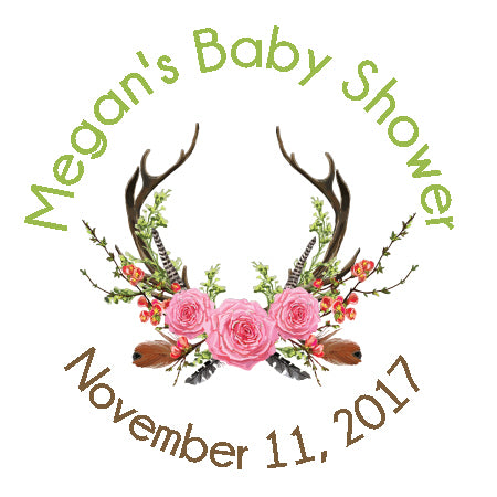 Antlers Boho Baby Shower Sticker