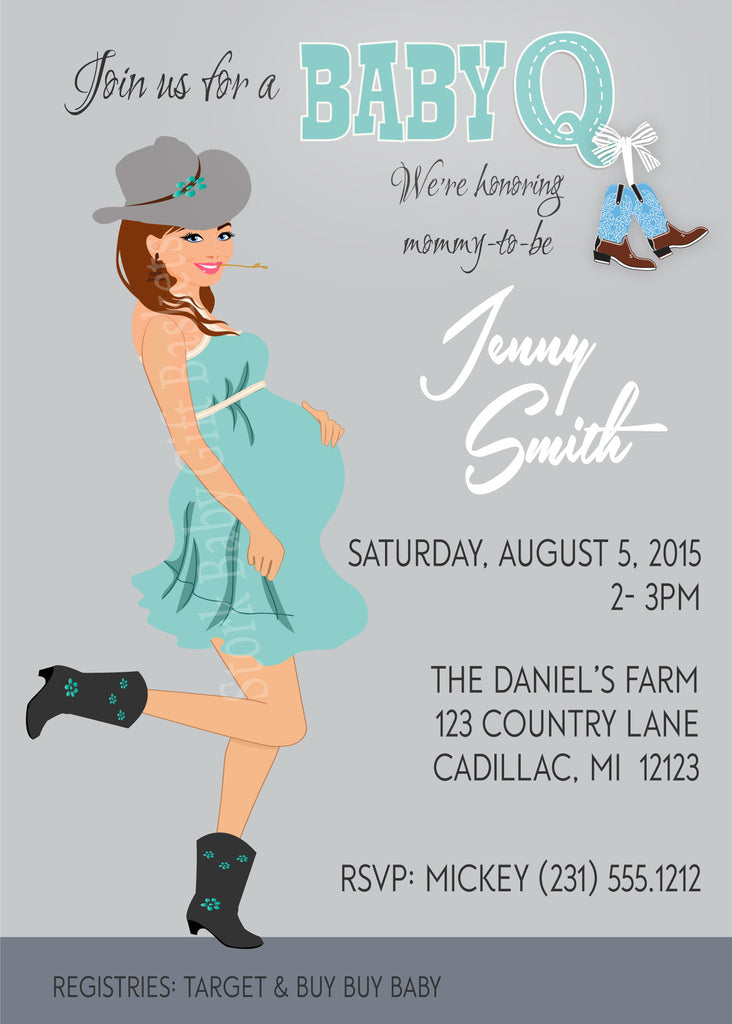 Cowgirl Bbq Baby Shower Invitations Stork Baby Gift Baskets