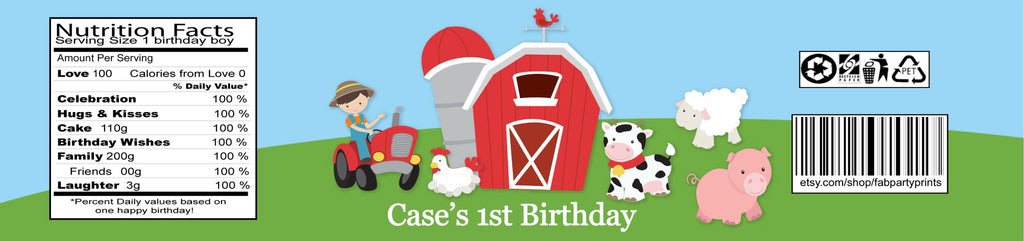 Barnyard Birthday Water Bottle Labels (#B-WBL101) - StorkBabyGiftBaskets