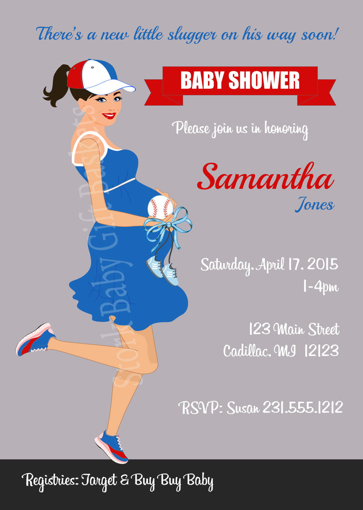 Baseball Mama Baby Shower Invitations