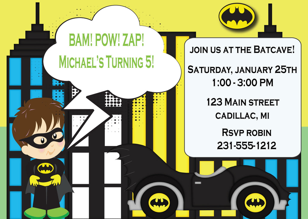 Batman Boy Birthday Invitations KBI102