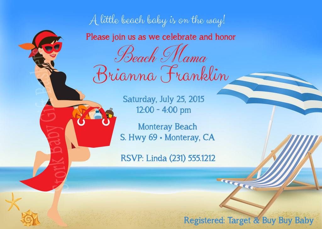 Beach Baby Invitations (#SBGB123) - Stork Baby Gift Baskets