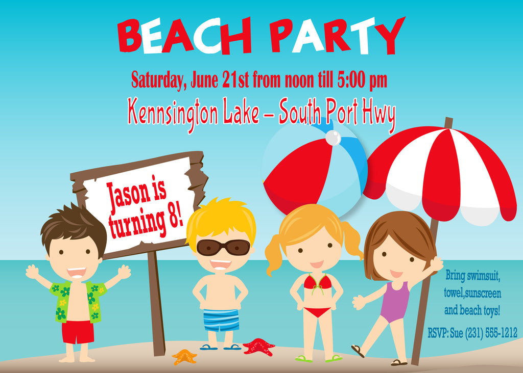 Personalized kids birthday invitations custom kids party beach party kids birthday party invitations kbi103 filmwisefo