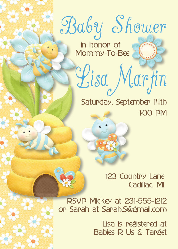 Bumble Bee Baby Boy Shower Invitations (#SBGB86) - StorkBabyGiftBaskets