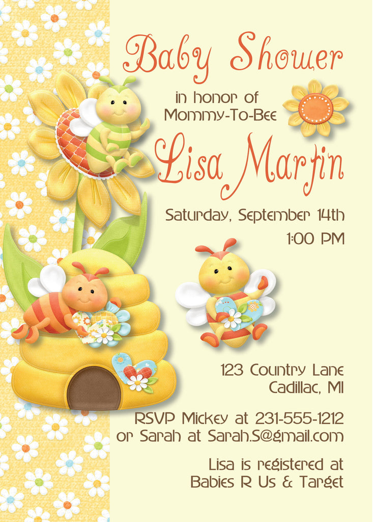 Bumble Bee Baby Girl Shower Invitations (#SBGB87)   Stork Baby Gift Baskets  ...