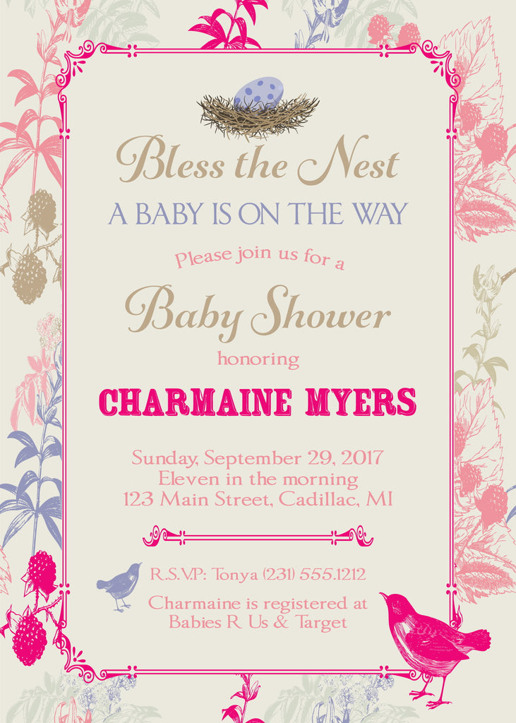 Bless the Nest Baby Shower Invitation