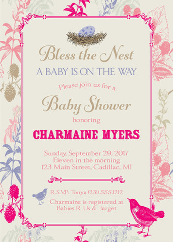 Bumble Bee Baby Shower Invitations  - Boy (#DIY86)