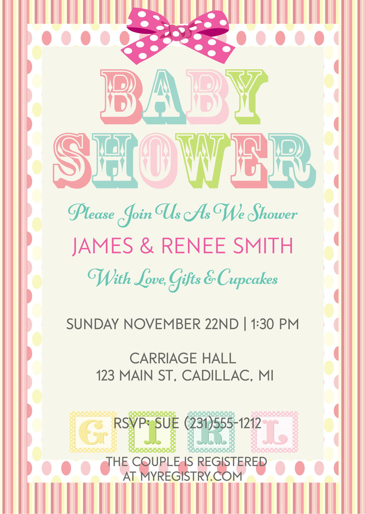Girl Baby Blocks Shower Invitation - StorkBabyGiftBaskets - 1