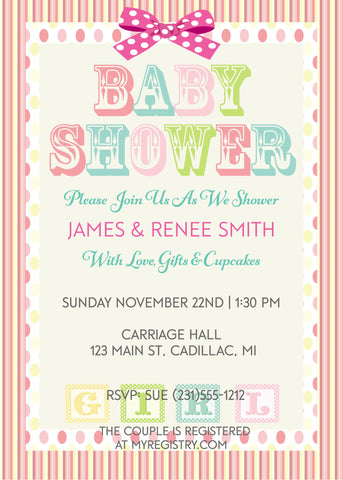 Paris Baby Shower Invitations - Girl  (#SBGB117)
