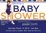 Navy Blue Orange Baby Invitations (#SBGB321) - StorkBabyGiftBaskets