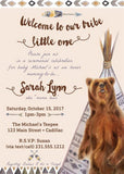 Boho Baby Shower Invitation - Tribal Baby Shower Invite