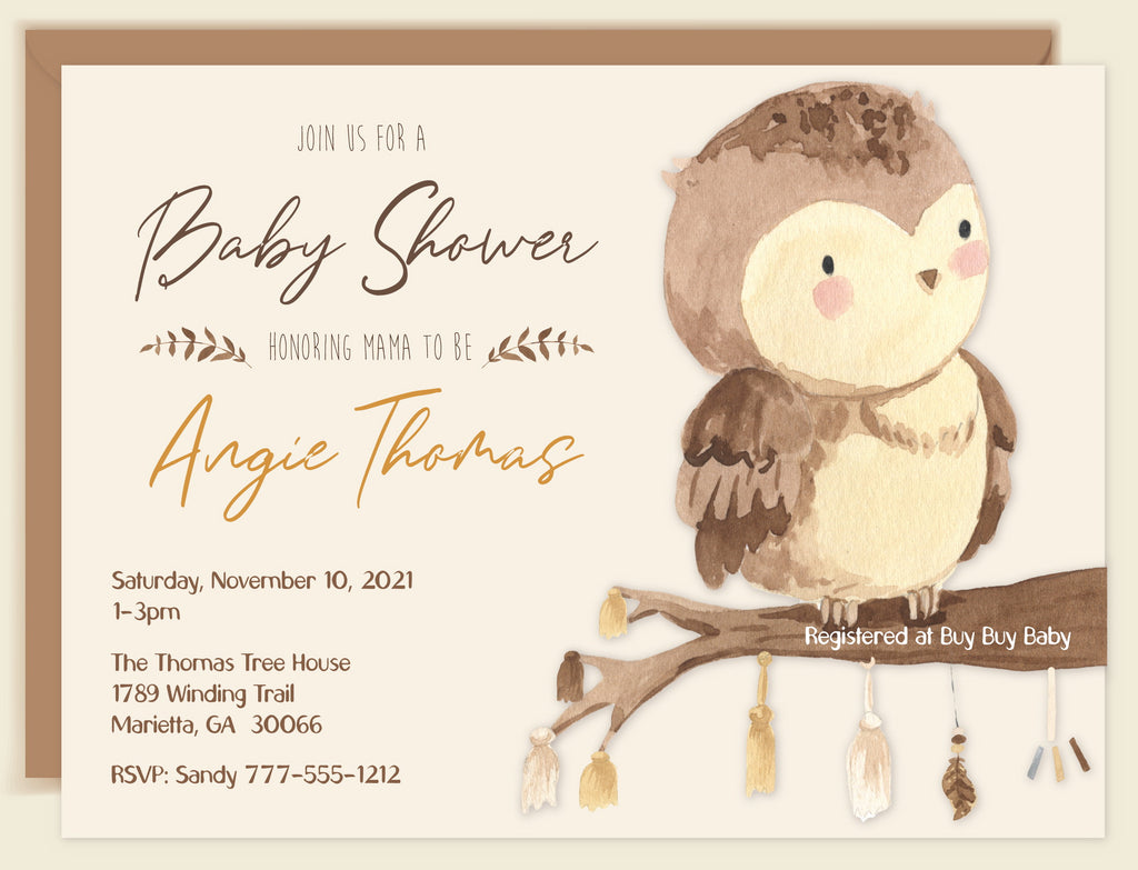 Boho Owlett Baby Shower Invitation