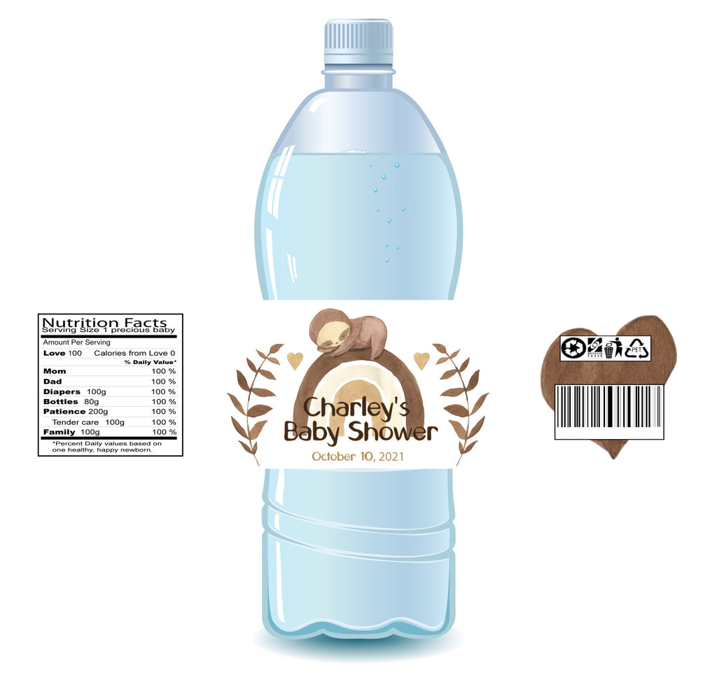 Boho Sloth Water Bottle Labels