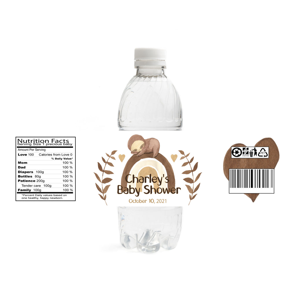 Boho Sloth Baby Shower Water Bottle Labels