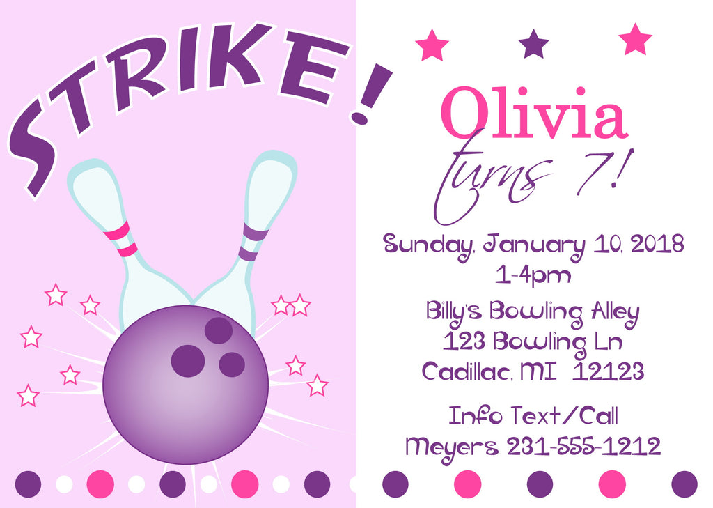 Bowling Party Birthday Invitations