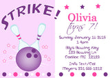 Bowling - Girls Bowling Party Invitation