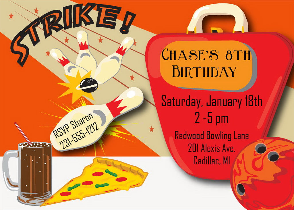 Bowling - Boys Bowling Birthday Invitation