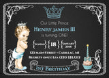 Chalkboard Vintage Prince Invitation - Boy's First Birthday Party Invitations