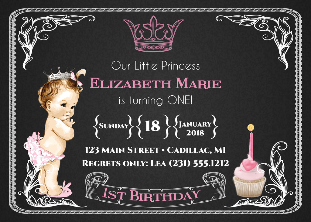 Chalkboard princess 1st birthday girls first birthday invitations chalkboard princess 1st birthday girls first birthday invitations storkbabygiftbaskets filmwisefo