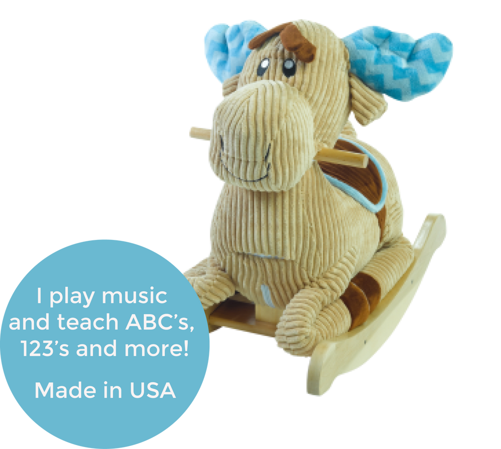Chocolate Moose Rocker (#RB34) - StorkBabyGiftBaskets - 2