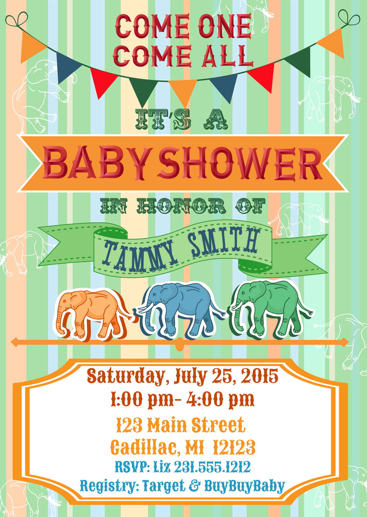 Circus Elephants Baby Shower Invitations (#SBGB62) - StorkBabyGiftBaskets