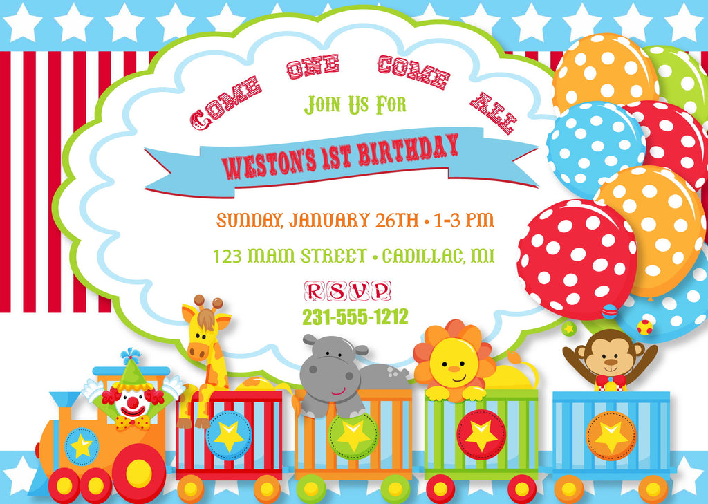 Circus Birthday Party Invitation Kbi  StorkbabygiftbasketsCom