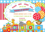 Circus Birthday Party Invitation (#KBI116) - StorkBabyGiftBaskets