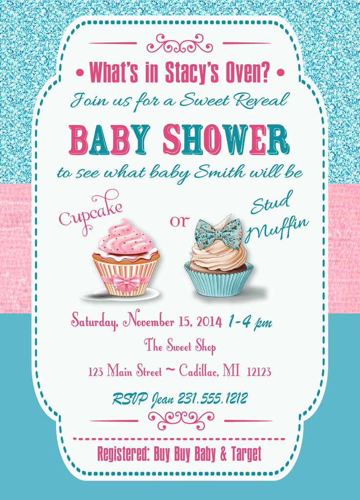 cupcake gender reveal party invitation sbgb96 storkbabygiftbaskets - Gender Reveal Party Invites