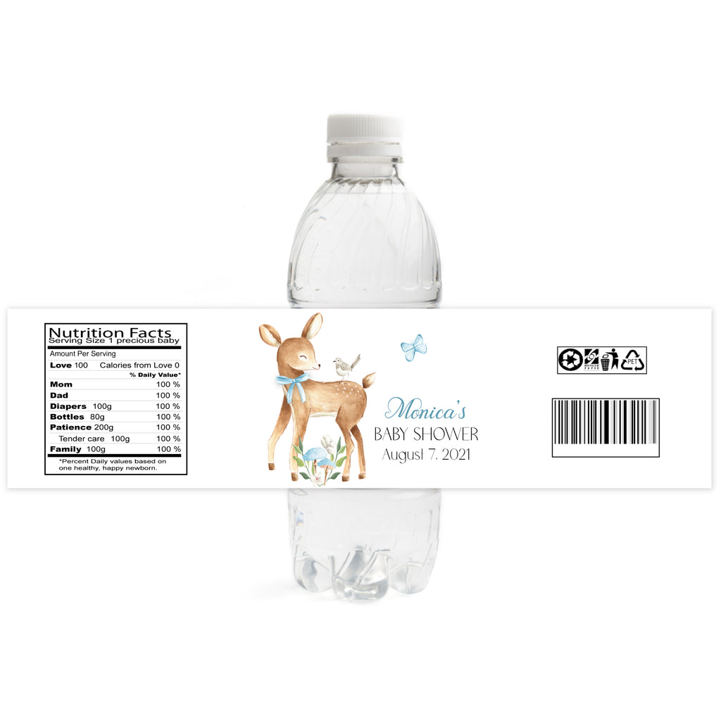 Deer Baby Shower Water Bottle Labels - Boy