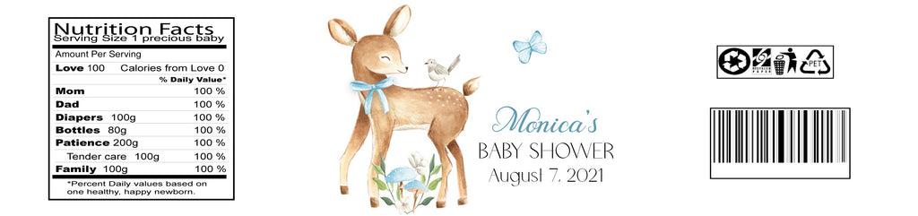 Deer Baby Boy Water Bottle Labels