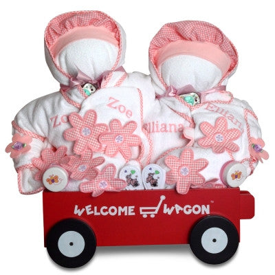 Welcome Wagon Deluxe for Twin Girls (#BGC122) - Stork Baby Gift Baskets