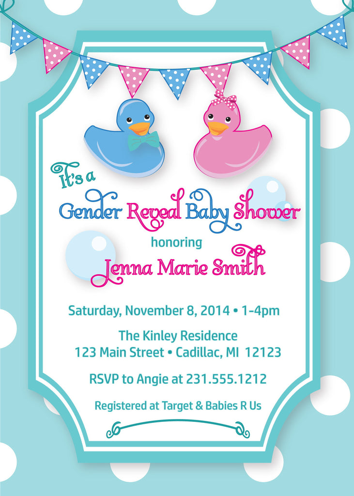 Ducky Reveal Baby Shower Invitation (#SBGB92) - StorkBabyGiftBaskets