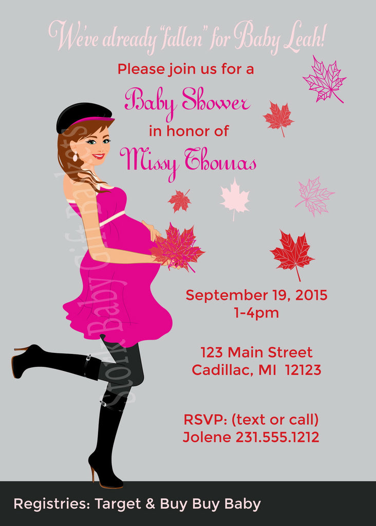 Fall Mama Baby Invitations  (#SBGB119) - StorkBabyGiftBaskets