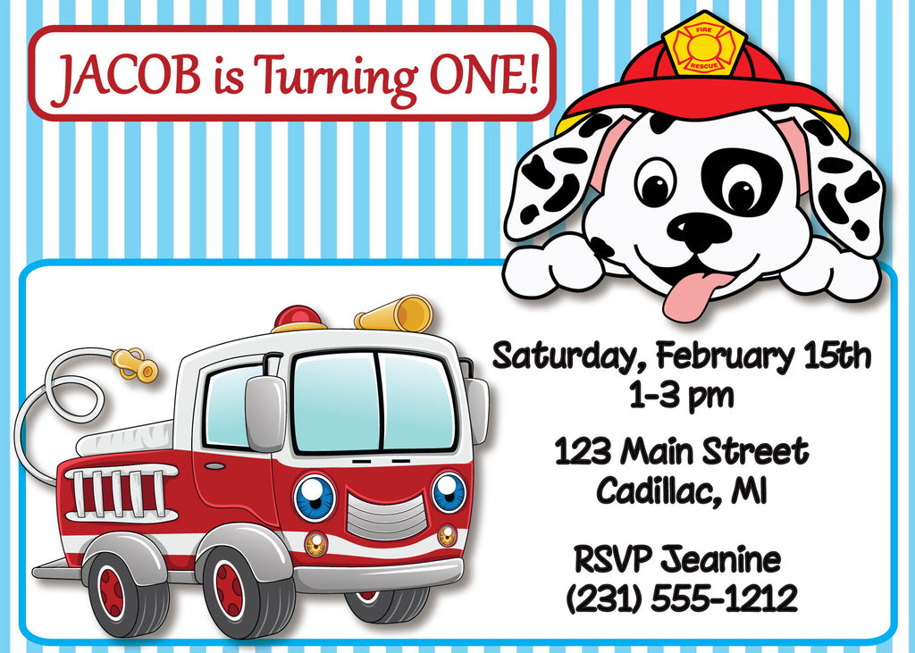 Fire Truck 1st Birthday Invitation (#KBI115) - StorkBabyGiftBaskets