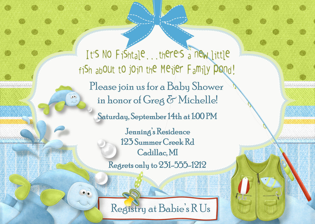 Fishing baby shower invitation custom baby shower invitations fishing baby shower invitation boy fish tales filmwisefo